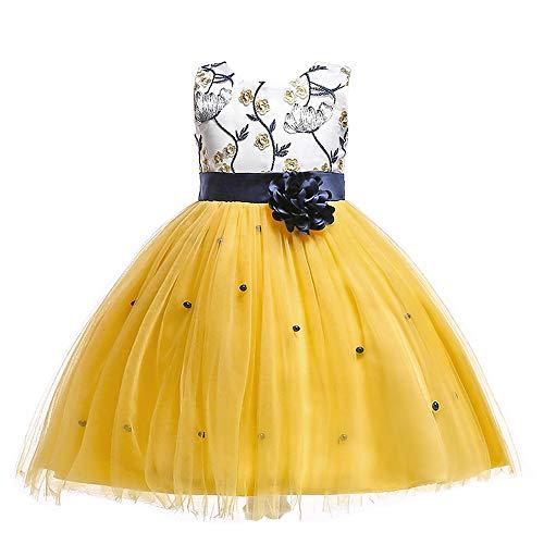 LIVFME Party Dresses for Girls Yellow Elegant Kids Wedding Flower Girls Dress Princess Summer Sleeveless Dresses 7t 8t M11Ylw150 ()