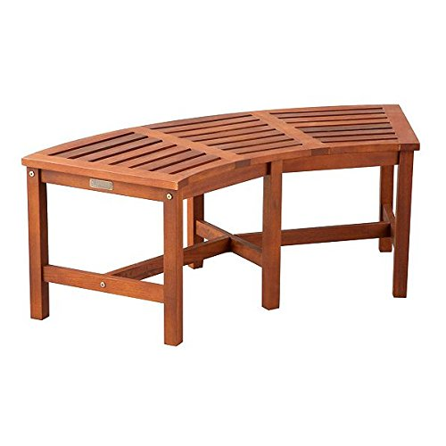 Outdoor Natural Finish Eucalyptus Wood Fire Pit Bench Lawn