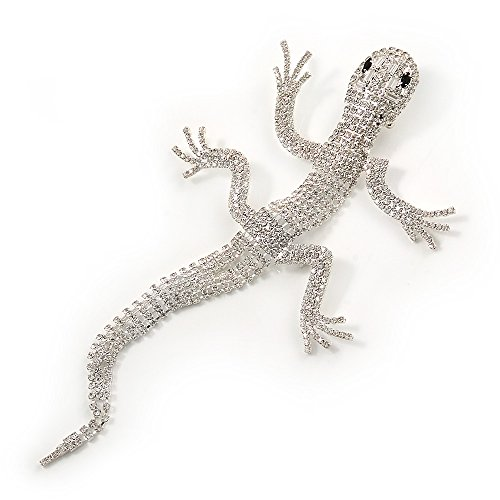 cheap Oversized Clear Crystal 'Gecko Lizard' Brooch In Silver Tone - 20cm L