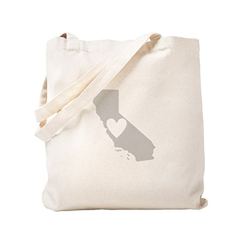 CafePress Heart California Natural Canvas Tote Bag, Cloth Shopping Bag -