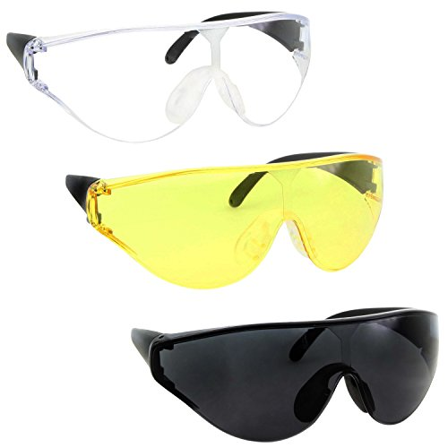 3 Pairs Bulk XL Large Wide Frame Safety & Shooting Glasses Tinted, Clear, Yellow Lens - Assorted - Yellow Shooters Glasses