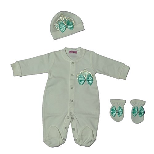 4c0ce72ad1717 %100 Soft Thick Cotton Newborn Baby Girl Crown Jewel (Mint Color) Layette 3  Pieces Set 0-3 Months