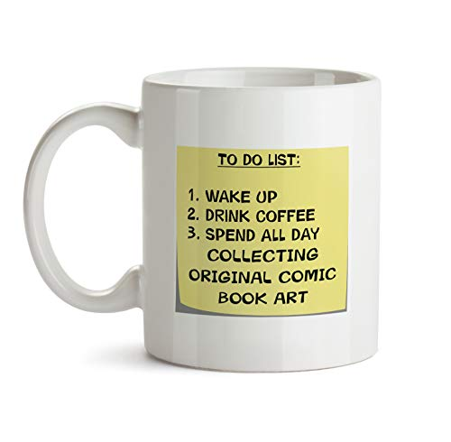 To Do List Gift Mug - AA51 Collecting Original Comic Book Art Post It Note Coffee Tea Gift Cup For Christmas - Funny Theme Themed Quote Saing I Love Present For Men Women Christmas (Original Book Comic Art)