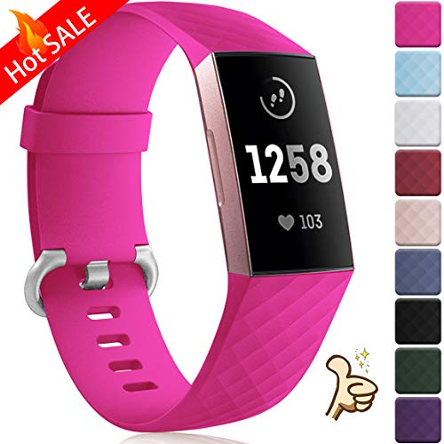 Maledan Bands Replacement for Fitbit Charge 3 and Charge 3 SE Advanced Fitness Activity Tracker, Classic Bracelet Sport Strap Wristband for Women Men, Small, Rose