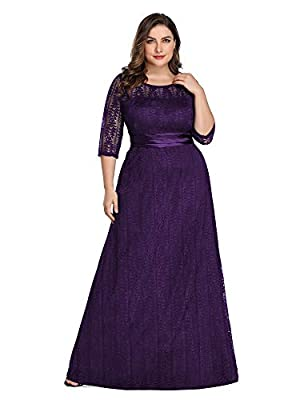 Ever-Pretty Women's Plus Size See-Through Half Sleeve Floral Lace Bridesmaid Dress 8878PZ