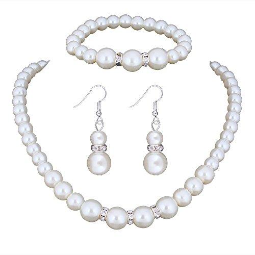 Wedding Bridal Pearl Jewelery sets for Women (1 Set Earrings,1 PCS Necklace, 1PCS Bracelet)