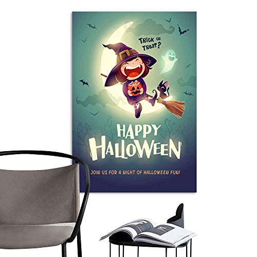 UHOO Arts PaintingHappy Halloween Halloween Little Witch Girl Kid in Halloween Costume Sits on The Moon Retro Vintage 1.jpg Artwork for Gift for Home Decor 24