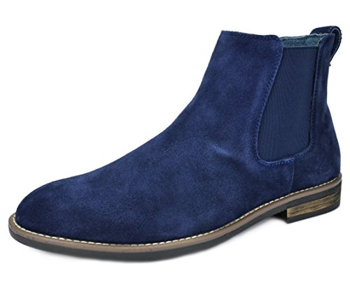 BRUNO MARC URBAN-06 Men's Classic Original Suede Leather Desert Storm Chukka Elastic Slip On boots NAVY SIZE (Suede Wingtip Boots)