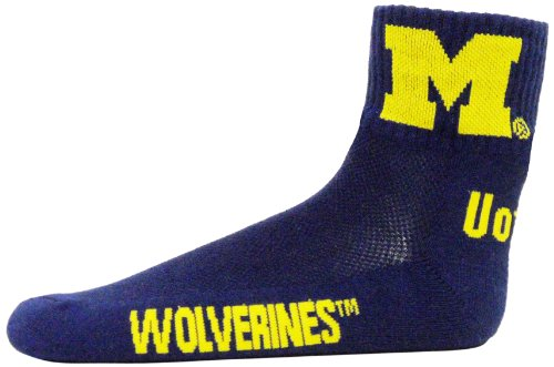 (Donegal Bay NCAA Michigan Wolverines Quarter Socks, Blue)
