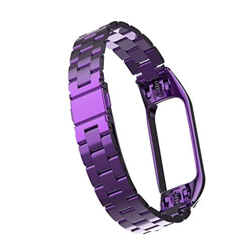 LEERYAAY Luxury Stainless Steel Wrist Strap Metal Wristband for Xiaomi Mi Band 3 Watch Purple
