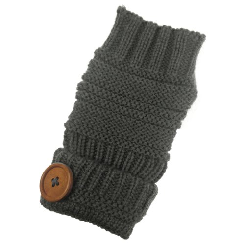 Wrapables Fingerless Gloves with Button Accent, Dark Gray