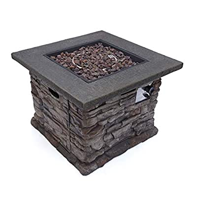 Christopher Knight Home Stone Outdoor Natural Stone Finished Square Fire Pit - 40,000 BTU