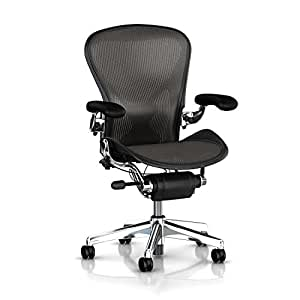 Herman Miller Executive Classic Aeron Task Chair: Tilt Limiter w/Seat Angle Adj - PostureFit Support - Fully Adj Leather Arms - Standard Carpet Casters