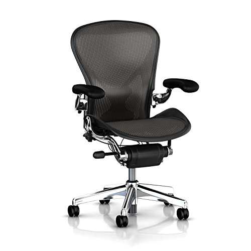 Executive Aeron Chair by Herman Miller - Polished Aluminum Frame - Leather Arms - PostureFit Lumbar - Carbon Classic Size C (Large)