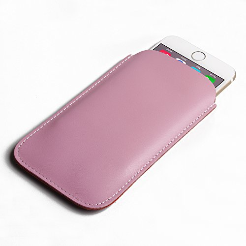 "Apple iPhone 6 (4.7"") Simple Leather Pouch Case Protective Phone Case / Cover (Handmade Genuine Leather) (Petal Pink) by Pdair"