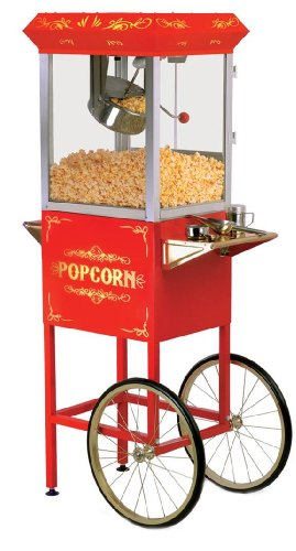 Elite Deluxe EPM-200 Maxi-Matic 8 Ounce Popcorn Popper Machine with Trolley, Red by Maximatic