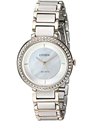 Citizen Womens Silhouette Crystal Quartz Stainless Steel Casual Watch, Color:Two Tone (Model: EM0483-89D)