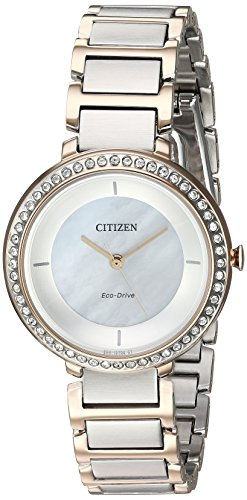 Citizen Women's Silhouette Crystal Japanese-Quartz Watch with Stainless-Steel Strap, Two Tone, 14 (Model: EM0483-89D)