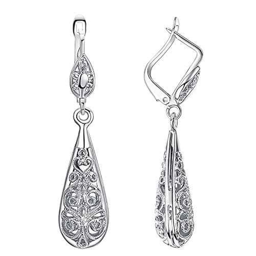 (Yoursfs Filigree Teardrop Dangle Earrings Vintage Leverback Earrings 18K Gold Plated Fashion Jewelry)