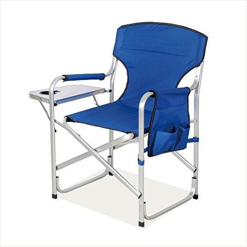 Snail Heavy Duty Aluminum Reinforced Frame Full Back Folding Director's Chair Folding Sports Chair w/Side Table & Foam Arm Rests, Navy Blue (High Folding Chair Directors)