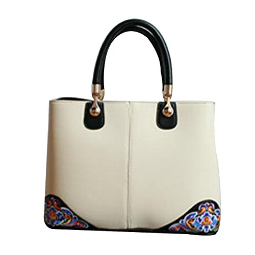 Leather Bag Fashion Women Bag Embroidery Bag Shoulder Bag Beige Chinese Style