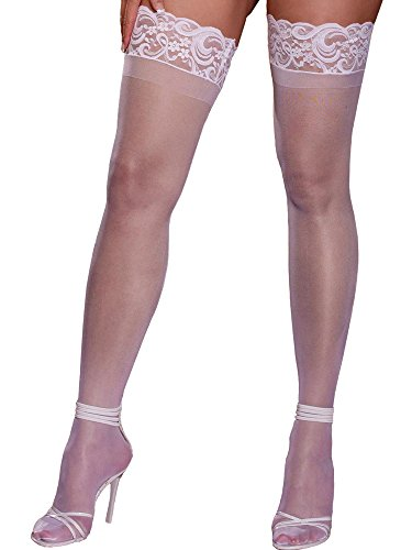(Plus Size Hosiery Lingerie Stay Up Lace Top Sheer Thigh High)