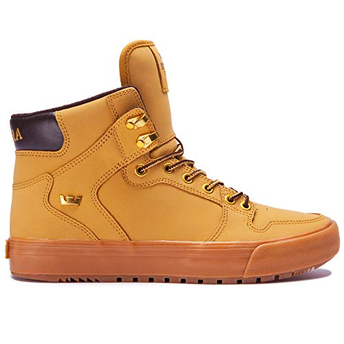 Supra Footwear - Vaider Cold Weather High Top Skate Shoes, Amber Gold-Light Gum, 11.5 M US Women/10 M US Men (Supra Shoes Men For)