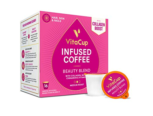 VitaCup Beauty Blend Coffee Pods 16ct with Collagen, Biotin, Cinnamon, Keto|Paleo|Whole30 Friendly, Essential Vitamins, Compatible with K-Cup Brewers Including Keurig 2.0, Top Rated Cups