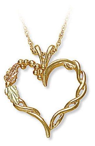 - Landstroms 10k Black Hills Gold Heart Pendant Necklace with Leaves, 18