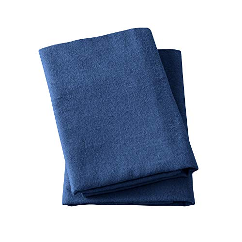 Great Bay Home Extra Soft 100% Turkish Cotton Flannel Pillowcase Set. Warm, Cozy, Lightweight, Luxury Winter Bed Pillowcases in Solid Colors. Nordic Collection Brand. (Standard, Navy)