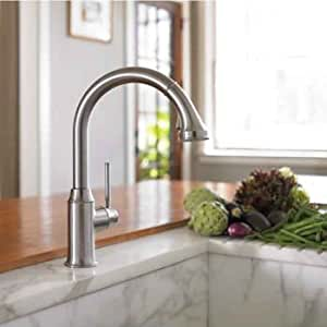 Hansgrohe 04492800 talis c higharc kitchen faucet steel optik for Hansgrohe talis bathroom faucet