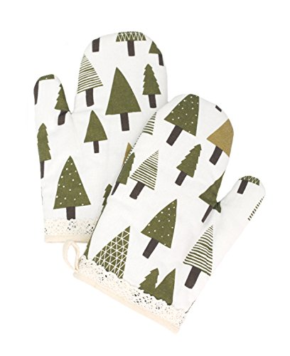 Yizi Zakka Cotton Oven Mitts, Christmas Tree Pattern, Heat Resistant Potholders, Oven Gloves for Cooking, Baking, Microwave, 1 (Quilt Oven Mitt)