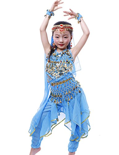Astage Girls Oriental Belly Dance Sets Costumes All accessories Sky Blue M(Fits 5-7 Years)