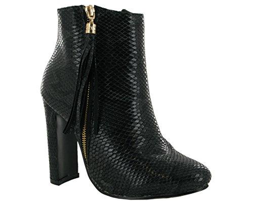 Hotsoles London Fashion Casual Ankle Zip Boot Black Snake HPOPypmRb