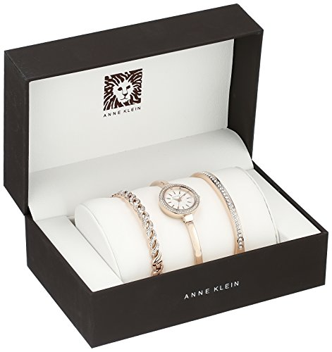 Anne klein women 39 s ak 2046rgst swarovski crystal accented rose gold tone bangle watch and for Anne klein rose gold watch set