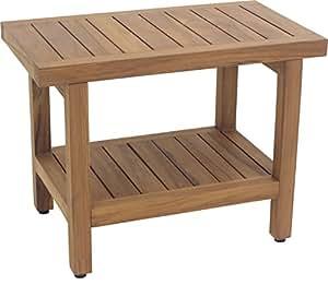 """The Original Spa 24"""" Teak Shower Bench with Shelf"""