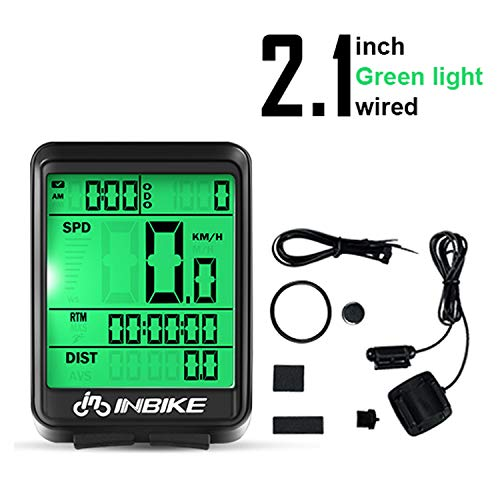 Bicycle Speedometer Odometer Waterproof Wired Stopwatch/Average Speed/Trip Time/Distance Recording Odometer Bike Computer with LED Backlight for Cycling (Wired, Green)