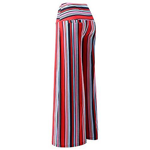 Waist Donna vita strisce larghi bassa Pantaloni in Spiaggia Rosso Smocked da Boho a delle della Pantaloni YanHoo Pants donne Cintura Leggeri a con stampati Viscosa Harem pantaloni Pantaloni gamba qgnwpSStX