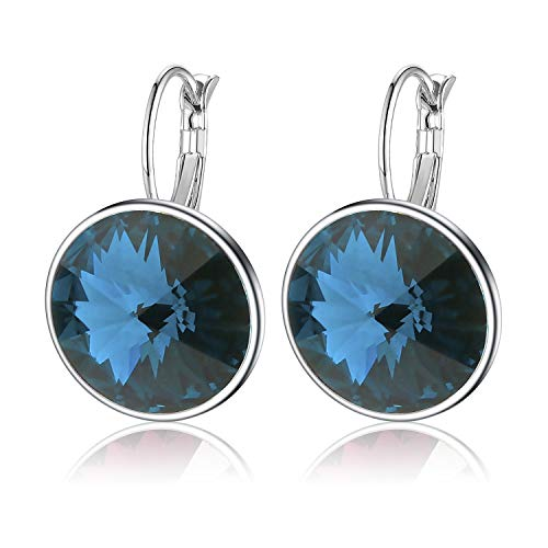 Swarovski Crystals Round Drop Leverback Earrings for Women Girls 14K Gold Plated Hypoallergenic Hoop Earrings (Blue)
