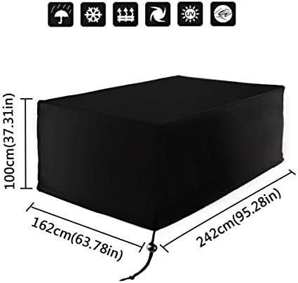 dDanke Black Patio Furniture Dust Cover for Rectangle Table Chair Set Protection Waterproof Sunscreen Snowproof Windproof 95.3×63.78×39.4 Inch