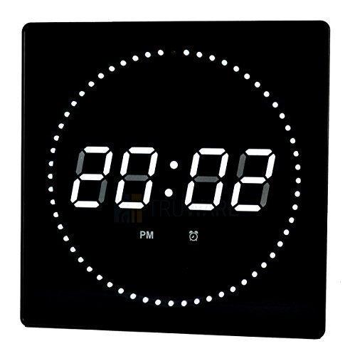 LED reloj fecha blanco reloj de pared redondo de pantalla reloj de estudio termostato con reloj digital: Amazon.es: Relojes