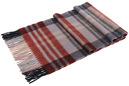 (Luxuriously Soft Cashmere Winter Scarf Gift Box Set for Women, Red & Gray Plaid)