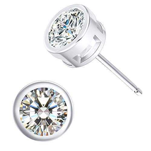 CZ Stud Earrings For Women - 18K White Gold Plated Cubic Zirconia Earrings for Men and Women.