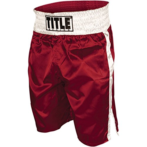 (TITLE Professional Boxing Trunks, Red/White, Medium)