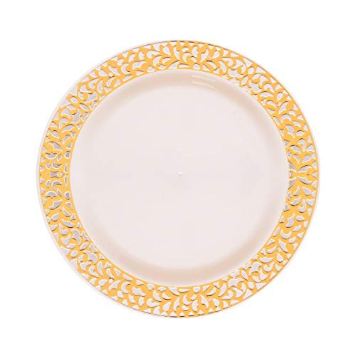 Pierced Collection Lace Ivory Plate with Gold Cutout Design Set of 10