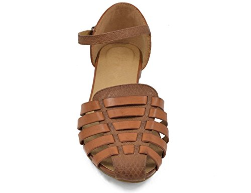 MaxMuxun Womens Roman Ankle Strap Cage Closed Toe Camel Flat Sandals Size 9 by MaxMuxun (Image #5)