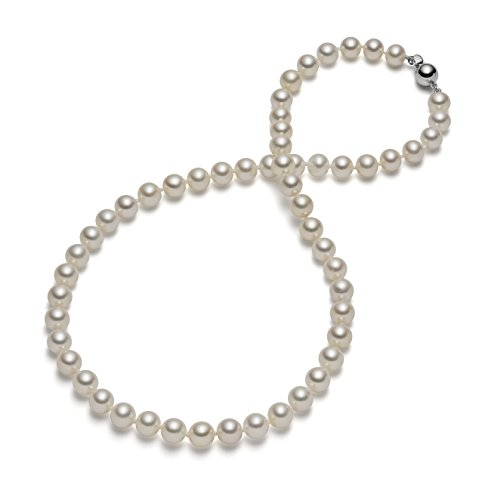 HinsonGayle AAA Handpicked 7.5-8.0mm White Round Freshwater Cultured Pearl Necklace (Sterling Silver, 18'') by HinsonGayle Fine Pearl Jewelry