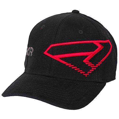 FXR Racing Cotton/Spandex Curved Bill Split Hat - Black/Red - Small/Medium (Bill Split Cap)