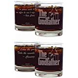 Movies On Glass - Premium Etched Set of Two The Godfather Movie Whiskey Glasses With Two Unique Quotes