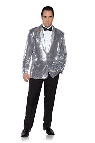 James Bond Costume Party (Underwraps Men's Plus-Size Sequin Jacket, Silver, XX-Large)